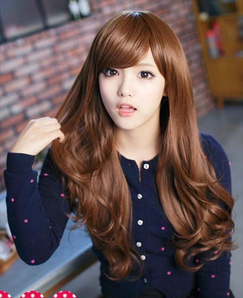 korean bangs hairstyle for square face female