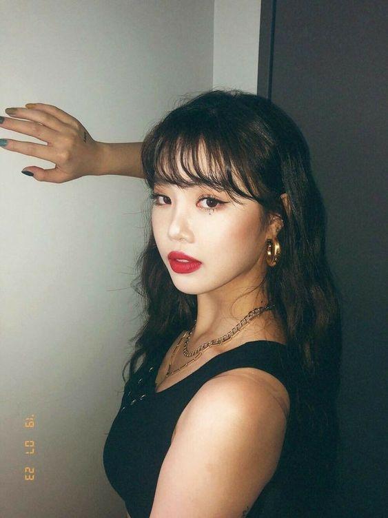 korean bangs for heart-shaped face
